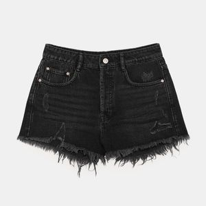 Zara TRF Distressed Mid-Rise Shorts in Black